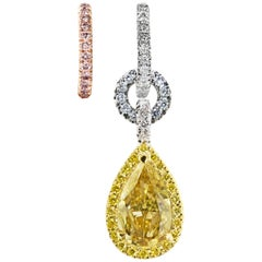 Mismatched GIA Certified 1.50 Carat Pear shape Yellow Blue Pink Diamond Earrings