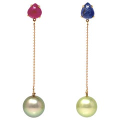 Mismatched Sapphire and Ruby Cabochon with Pistachio Tahitian Pearl Earrings