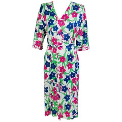 Miss Bessi Floral Fine Cotton Lisle Knit Day Dress 1990s