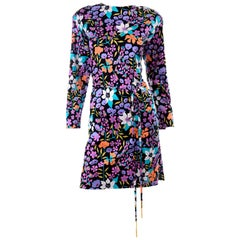 Miss Bessi Italy Vintage Colorful Floral Cotton Jersey Dress With Tassel Belt