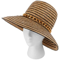 Miss Dior by CHRISTIAN DIOR c.1960's Black Gold Woven Straw Bow Chain Sun Hat