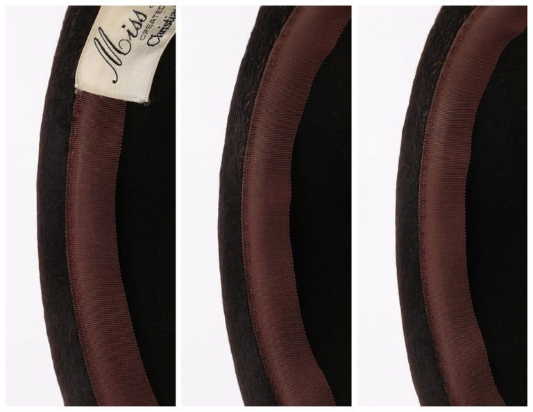 Miss Dior CHRISTIAN DIOR c.1960's Marc Bohan Dark Brown Felted Fur Pillbox Hat  For Sale 6