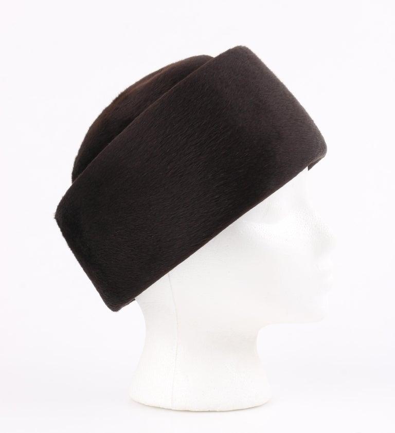 Women's Miss Dior CHRISTIAN DIOR c.1960's Marc Bohan Dark Brown Felted Fur Pillbox Hat  For Sale