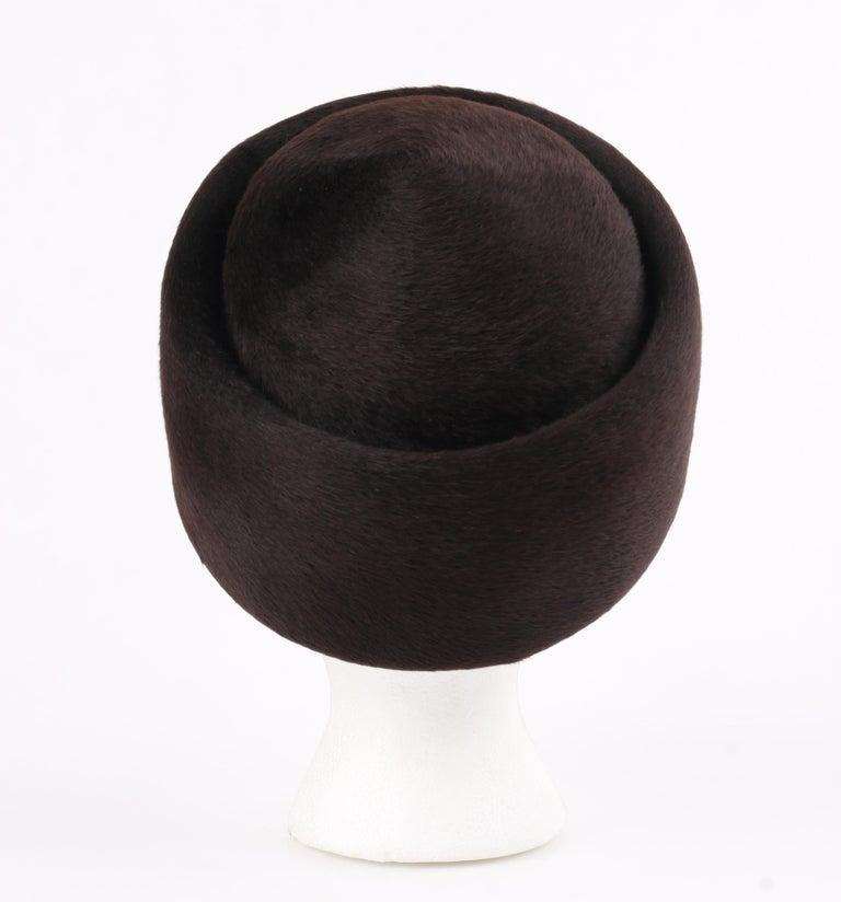 Miss Dior CHRISTIAN DIOR c.1960's Marc Bohan Dark Brown Felted Fur Pillbox Hat  For Sale 1