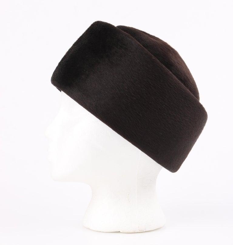 Miss Dior CHRISTIAN DIOR c.1960's Marc Bohan Dark Brown Felted Fur Pillbox Hat  For Sale 2