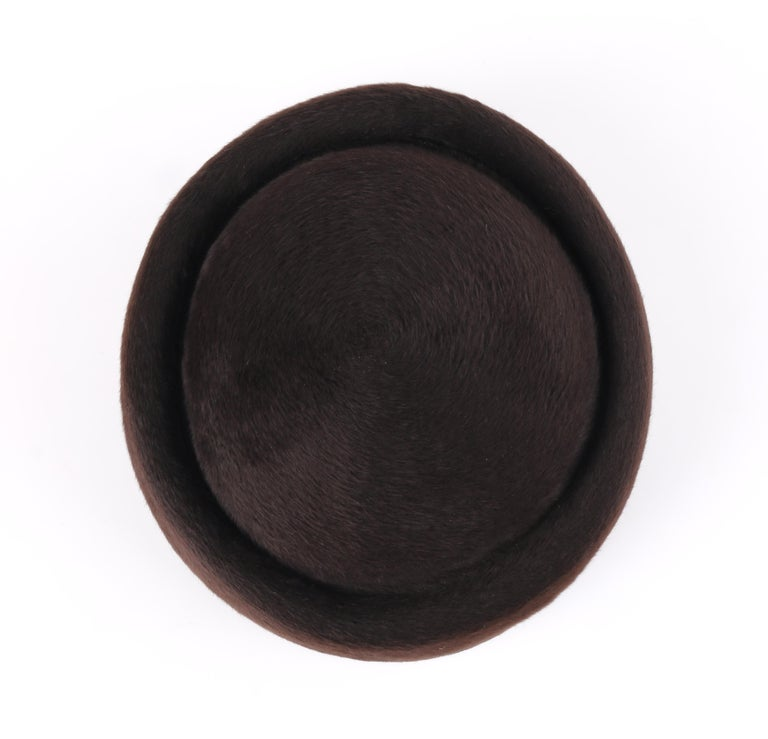 Miss Dior CHRISTIAN DIOR c.1960's Marc Bohan Dark Brown Felted Fur Pillbox Hat  For Sale 3