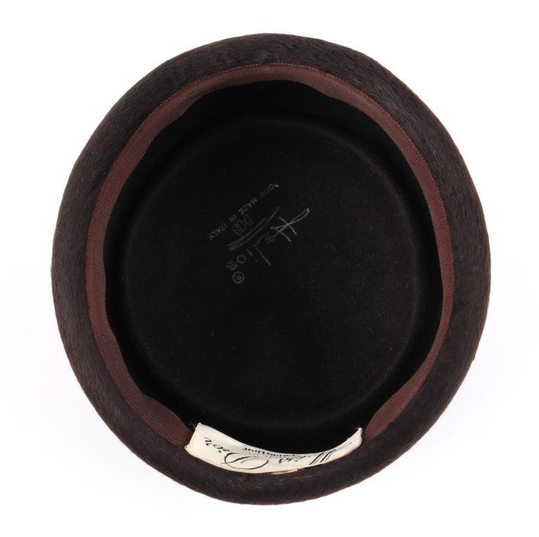 Miss Dior CHRISTIAN DIOR c.1960's Marc Bohan Dark Brown Felted Fur Pillbox Hat  For Sale 4