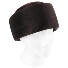Miss Dior CHRISTIAN DIOR c.1960's Marc Bohan Dark Brown Felted Fur Pillbox Hat
