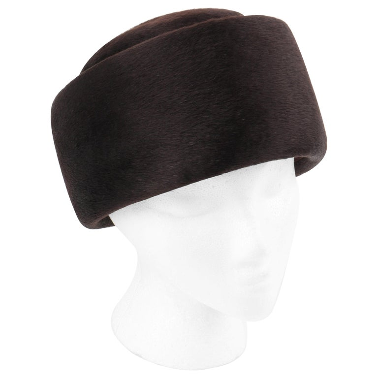 Miss Dior CHRISTIAN DIOR c.1960's Marc Bohan Dark Brown Felted Fur Pillbox Hat  For Sale