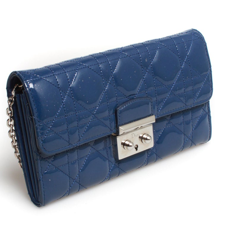 Patent leather quilted Miss Dior Rendezvous wallet on chain with silver hardware.