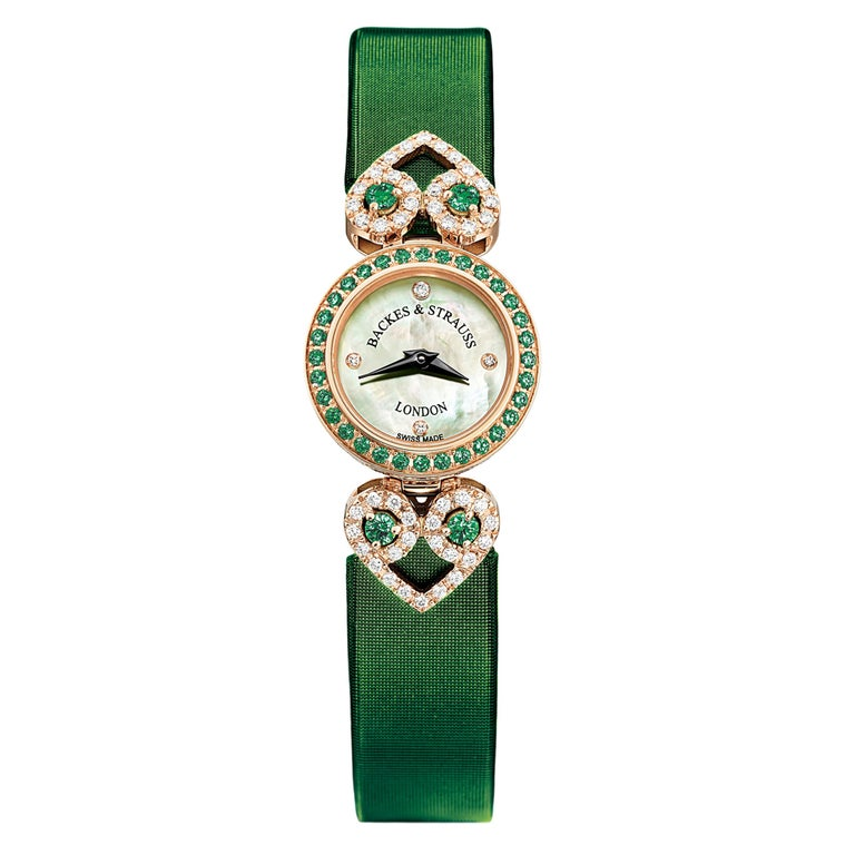 Miss Victoria Emerald Green Luxury Diamond Watch for Women, 18 Karat Yellow Gold For Sale