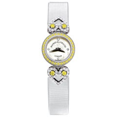 Miss Victoria Fancy Canary Luxury Diamond Watch for Women, 18 Karat White Gold