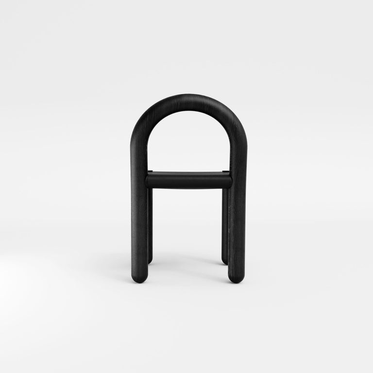Contemporary Missa Chair in Leather and Hardwood by Pedro Paulo Venzon For Sale