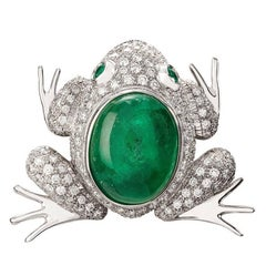 Missiaglia1846 White Gold Diamonds and Emerald Cabochon Frog Brooch