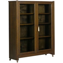 Mission Arts & Crafts Oak Antique Bookcase Bookshelf Cabinet, 20th Century