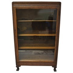 Mission Arts & Crafts Oakwood Single Glass Door Small Bookcase Display Cabinet