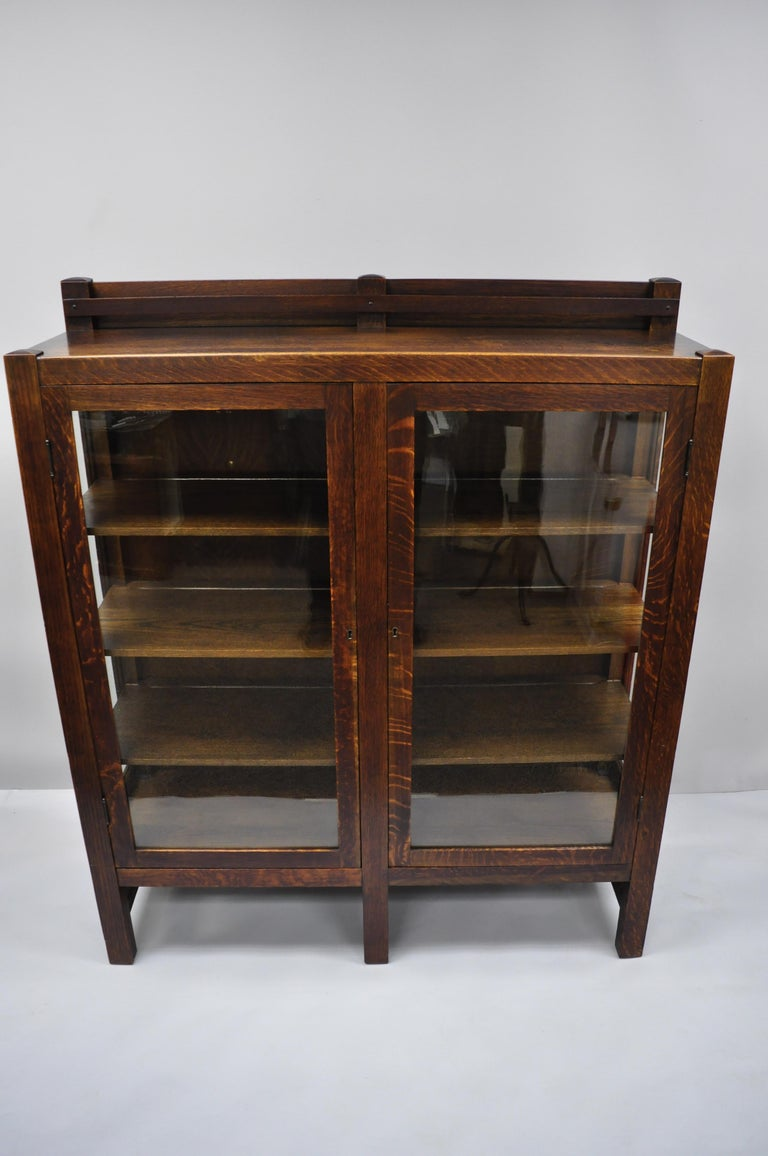 Mission Arts & Crafts Stickley Era Glass Double Door China Cabinet Bookcase 5