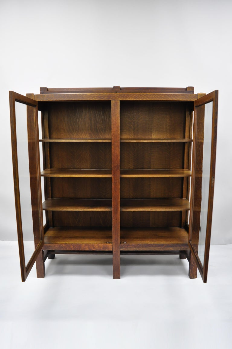 Arts and Crafts Mission Arts & Crafts Stickley Era Glass Double Door China Cabinet Bookcase