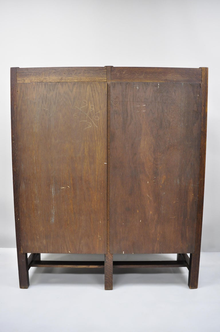 Mission Arts & Crafts Stickley Era Glass Double Door China Cabinet Bookcase 3