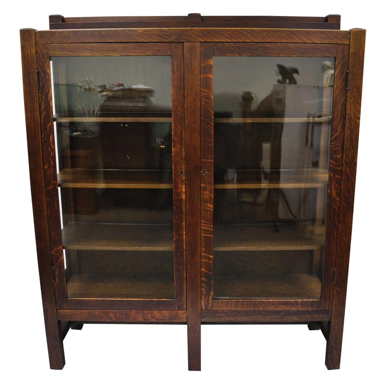 Mission Arts & Crafts Stickley Era Glass Double Door China Cabinet Bookcase