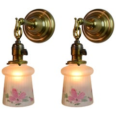Mission Brass Sconce Pair with Hand Painted Fluted Glass Shades