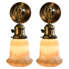Mission Brass Sconce Pair with Molded White Painted Glass Shades