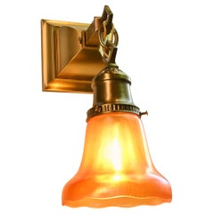 Mission Brass Sconce Pair with Nuart Ruby 'Carnival' Glass Shades