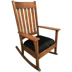 Mission Chestnut Slat Back Rocking Chair by National Chair Co.