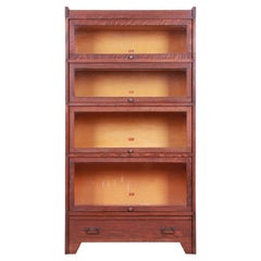 Mission Oak Arts & Crafts Four-Stack Barrister Bookcase by Weis, Circa 1900