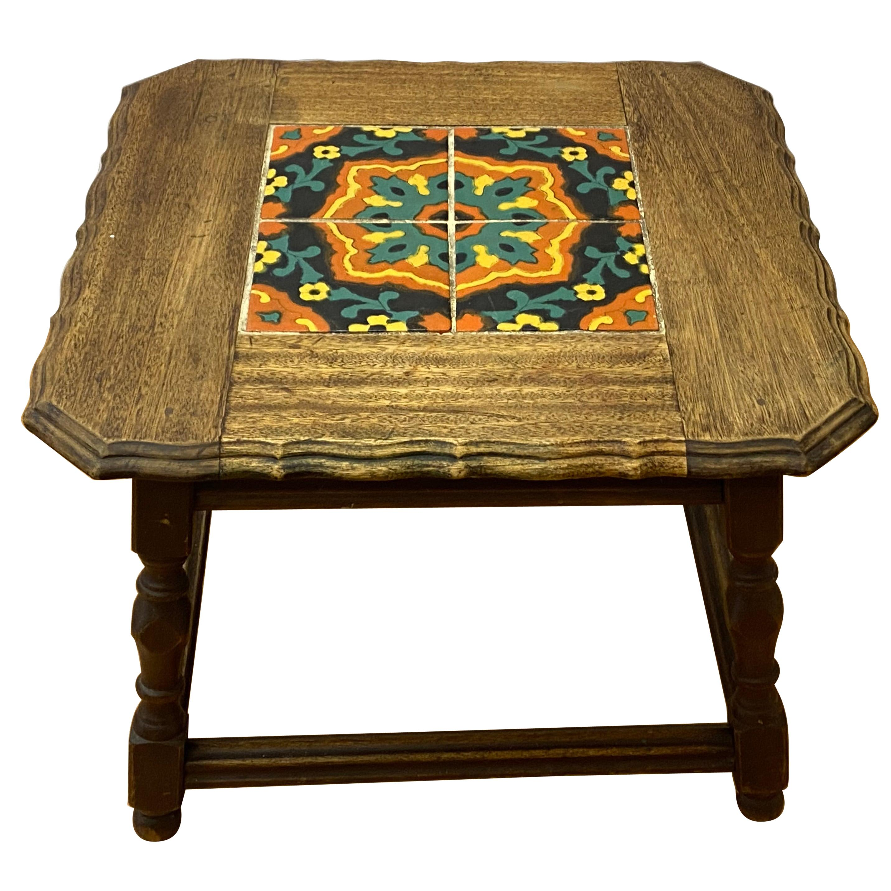 Mission Oak Arts & Crafts Tile-Top Side Table, circa 1920