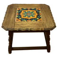 Mission Oak Arts & Crafts Tile-Top Side Table, circa 1920