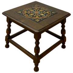 Mission Oak Arts & Crafts Tile Top Side Table, circa 1920