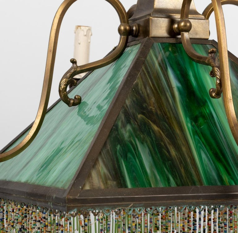 Mission Slag Glass Emerald Green Beeded Chandelier Pendant Light Fixture Bronzed In Good Condition For Sale In Brooklyn, NY