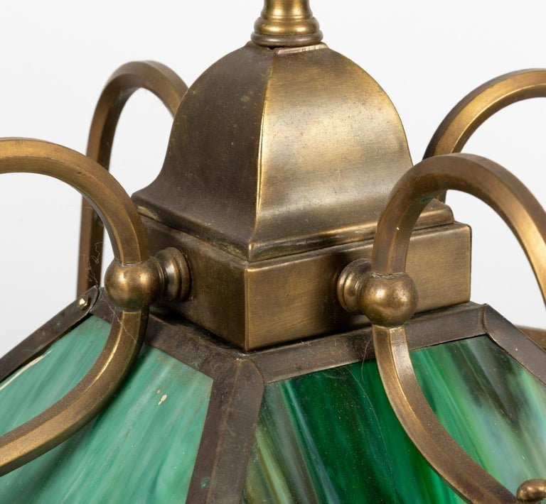 20th Century Mission Slag Glass Emerald Green Beeded Chandelier Pendant Light Fixture Bronzed For Sale