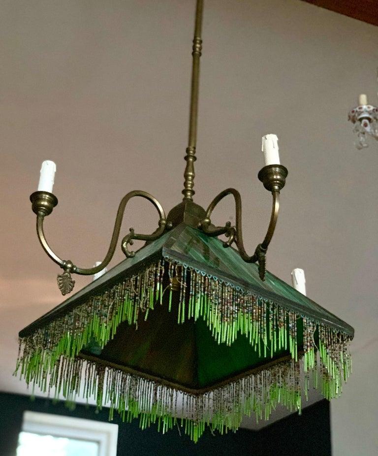 American Mission Slag Glass Emerald Green Beeded Chandelier Pendant Light Fixture Bronzed For Sale