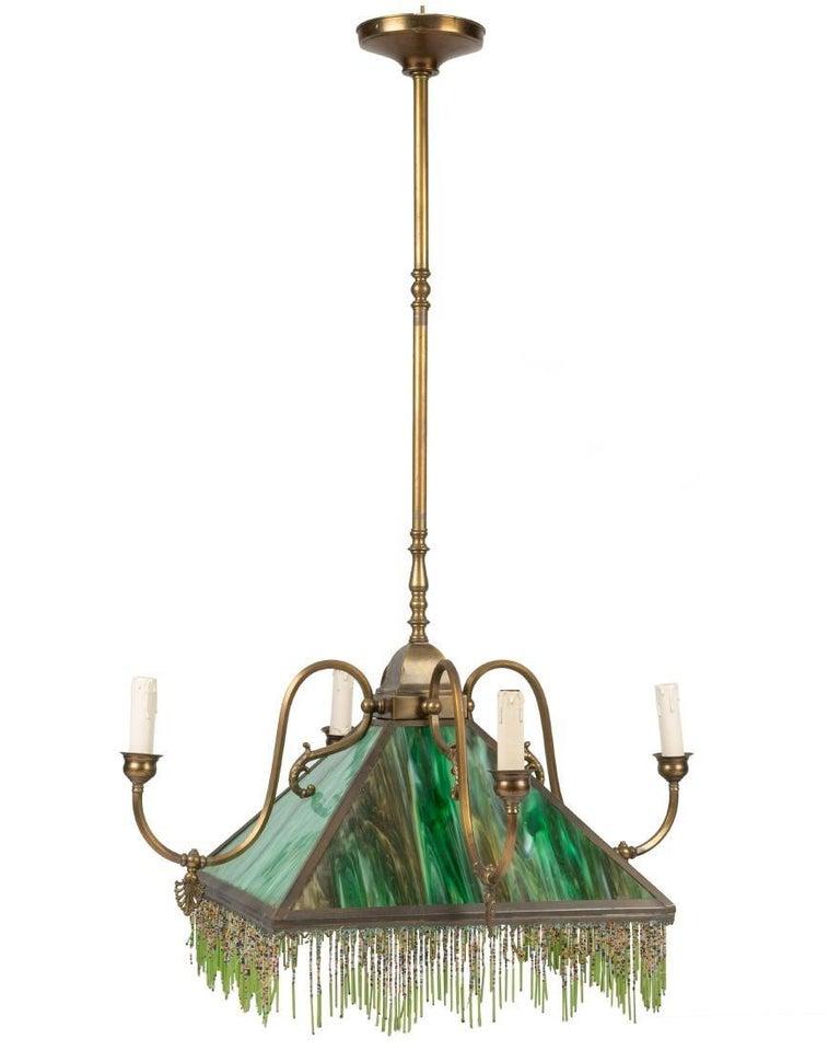 Mission Slag Glass Emerald Green Beeded Chandelier Pendant Light Fixture Bronzed For Sale 1