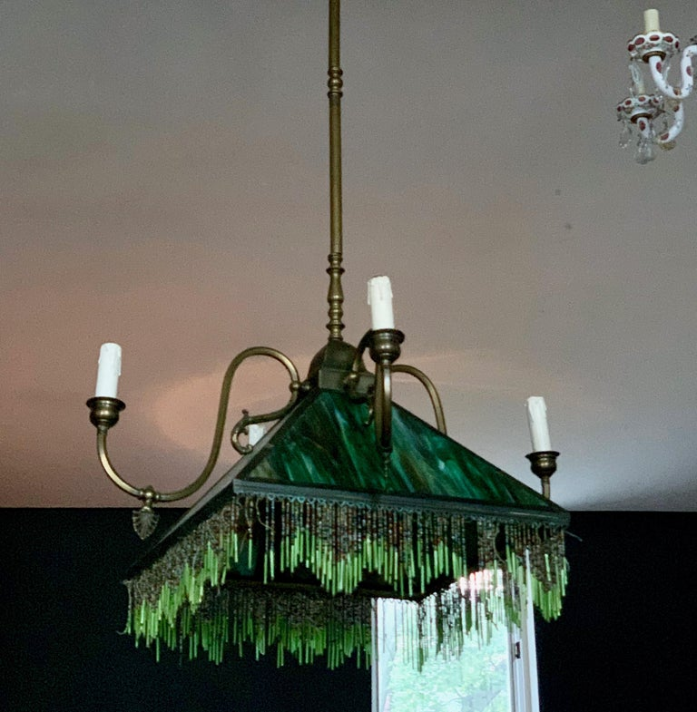 Mission Slag Glass Emerald Green Beeded Chandelier Pendant Light Fixture Bronzed For Sale 2
