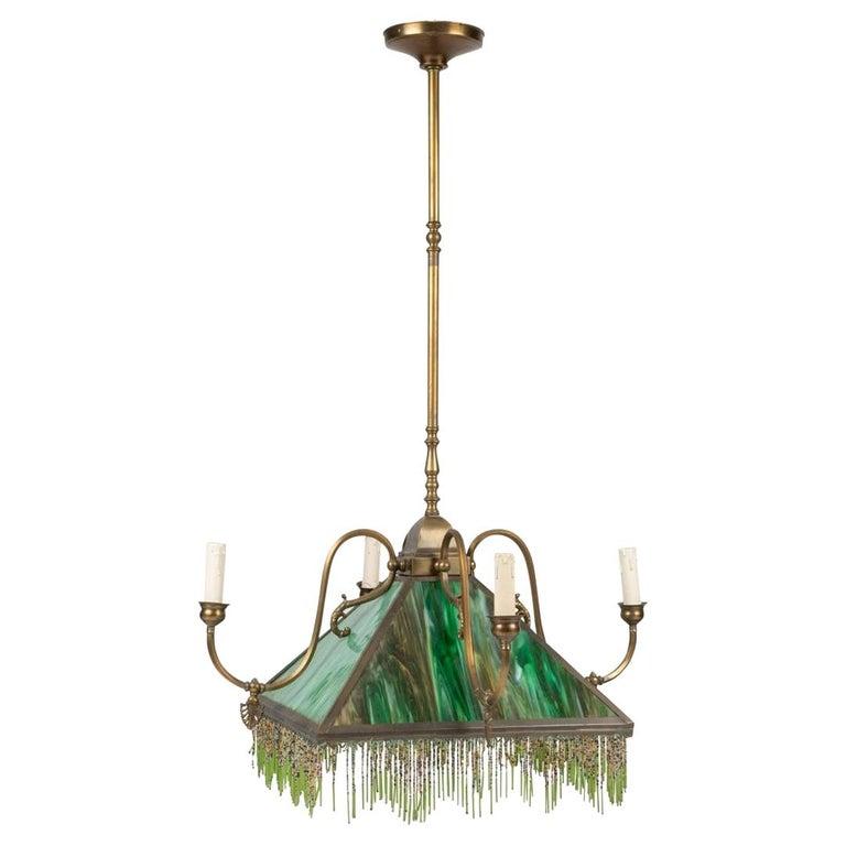 Mission Slag Glass Emerald Green Beeded Chandelier Pendant Light Fixture Bronzed For Sale