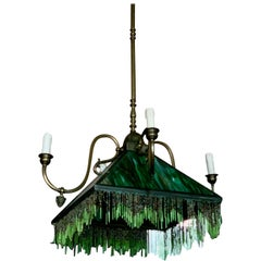 Mission Stained Glass l  Emerald Green Chandelier Pendant Light Fixture Bronzed