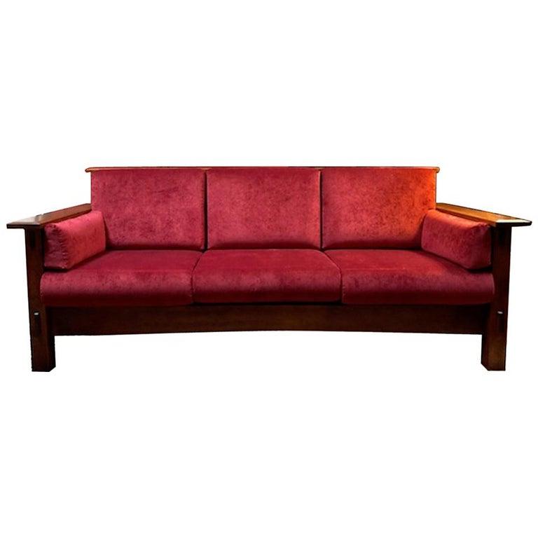 mission style aj 39 s furniture red fabric upholstered oak mccoy sofa for sale at 1stdibs. Black Bedroom Furniture Sets. Home Design Ideas