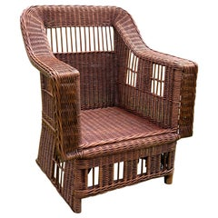 Mission Style Rattan Armchair