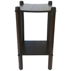 Mission Style Wood Side or Drinks Table with Shelf, Small