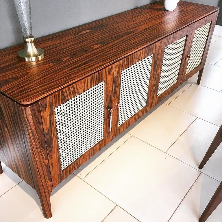 Brazilian Missona Wicker Sideboard, Mid-Century Modern Buffet with Cane Webbing For Sale