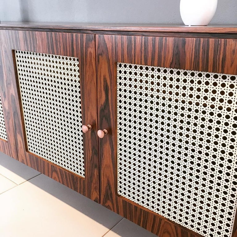Contemporary Missona Wicker Sideboard, Mid-Century Modern Buffet with Cane Webbing For Sale