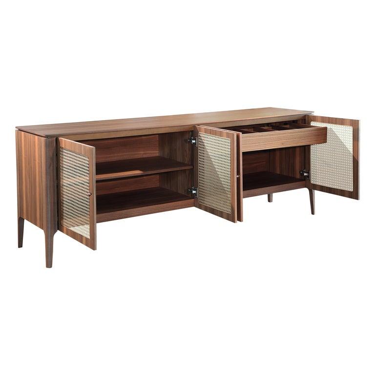 Missona Wicker Sideboard, Mid-Century Modern Buffet with Cane Webbing For Sale