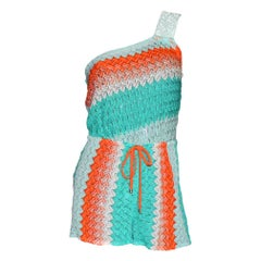 Missoni Asymmetric Crochet Knit Mini Jumpsuit Romper Playsuit with Sequins
