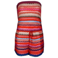 Missoni Bandeau Strapless Crochet Knit Jumpsuit Playsuit Romper Overall