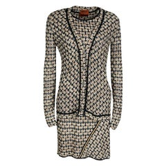 Missoni Beige and Black Perforated Knit Tunic and Cardigan Set M