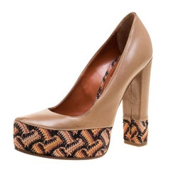 Missoni Beige Leather Knitted Platforms Pumps Size 36