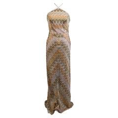 Missoni Beige Viscose Light Weight Knit Halterneck Maxi Dress Size 40